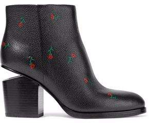 Alexander Wang Gabi Floral-Print Textured-Leather Ankle Boots