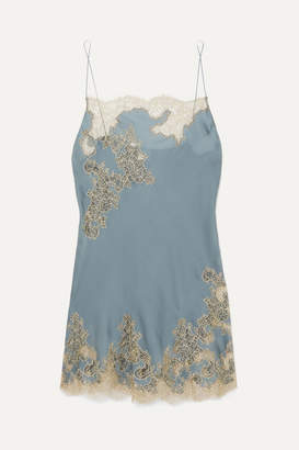 Carine Gilson Chantilly Lace-trimmed Silk-satin Chemise - Blue