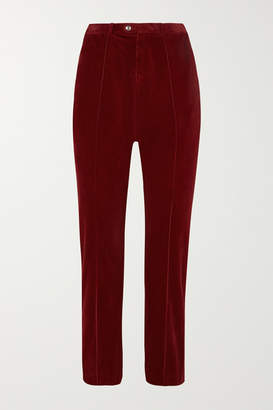 Chloé Cropped Cotton-blend Corduroy Straight-leg Pants - Burgundy