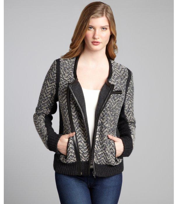 Rag and Bone Rag & Bone black stretch wool tweed 'Samantha' biker jacket