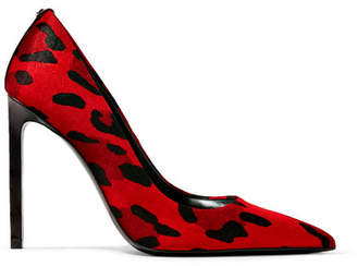 Tom Ford Leather-trimmed Leopard-print Velvet Pumps - Red