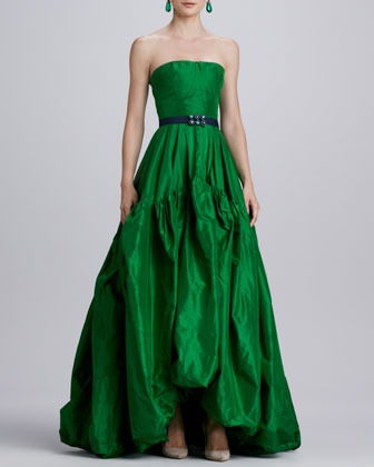 Oscar de la Renta Strapless Silk Ball Gown, Kelly Green