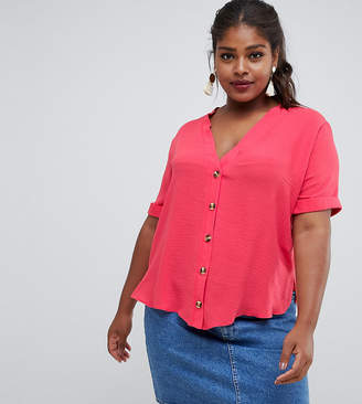 New Look Plus Curve Contrast Button Through Shirt