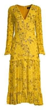 Saloni Devon Sequin-Accent Silk Dress