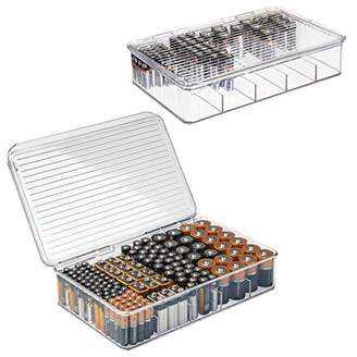 mDesign Stackable Divided Battery Storage Organizer Box Bin with Hinged Lid for AA
