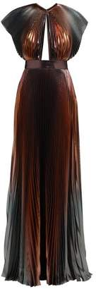 Givenchy Metallic Pleated Silk Blend Gown - Womens - Multi