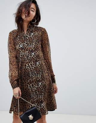 NA-KD high neck leopard print mini shirt dress in brown