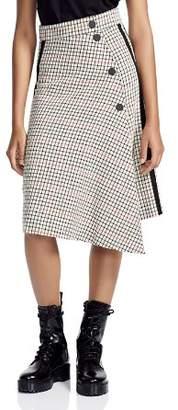 Maje Jessil Asymmetric Plaid Midi Skirt