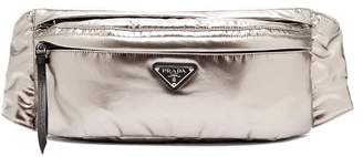 Prada - Metallic Double Zip Belt Bag - Womens - Silver