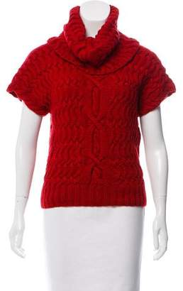 Oscar de la Renta Cable Knit Cowl Neck Sweater