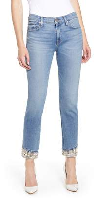 7 For All Mankind Imitation Pearl Embellished Crop Straight Leg Jeans