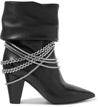 Self-Portrait Sadie Chain-embellished Leather Boots - Black