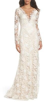 Women's Tadashi Shoji Long Sleeve A-Line Sheath Gown $998 thestylecure.com