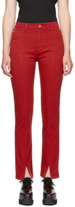 MSGM Red Front Slit Jeans