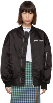 Palm Angels Black Logo Bomber Jacket
