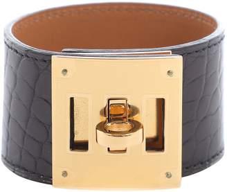 Hermes Collier de chien Black Alligator Bracelets