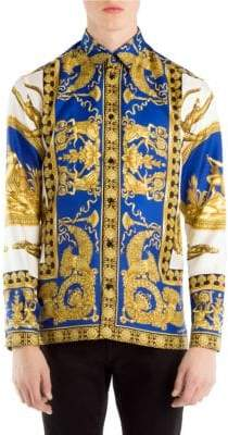 Versace Blue Baroque Button-Down Shirt