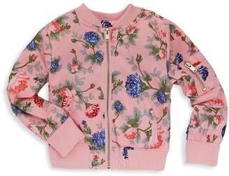 Urban Republic Baby Girl's Poly-Sateen Rose Floral Baseball Jacket