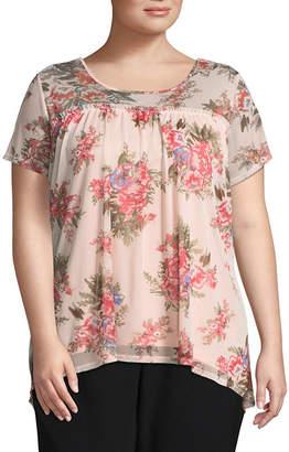 Boutique + + Short Sleeve Mesh Floral T-Shirt - Plus