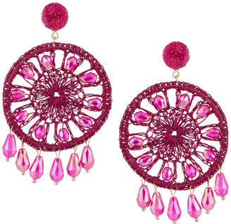 Panacea Fuchsia Circle Crystal Drop Earrings