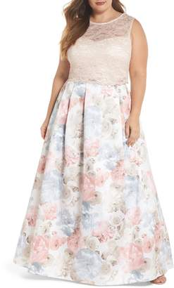 Morgan & Co. Two-Piece Lace & Mikado Gown