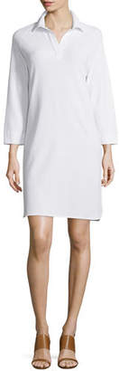 Joan Vass 3/4-Sleeve Shirttail Pique Dress, Petite