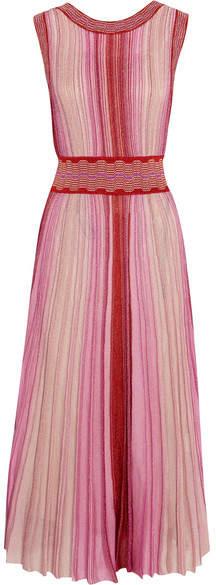 Missoni - Reversible Metallic Stretch-knit Midi Dress - Pink