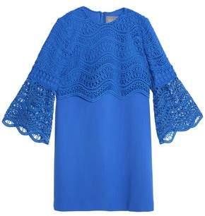 Lela Rose Guipure Lace-Paneled Wool-Blend Crepe Mini Dress
