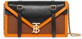 Burberry Small Leather-Embossed TB Envelope Clutch Bag