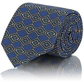 Tie Your Tie TIE YOUR TIE MEN'S MEDALLION-PRINT SILK NECKTIE-BLUE
