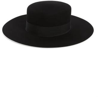 Saint Laurent Fur Felt Boater Hat