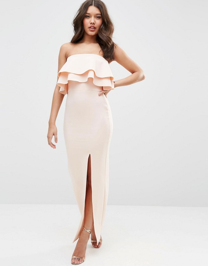 AsosASOS Premium Ruffle Bandeau Scuba Maxi Dress