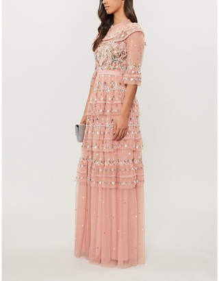 NEEDLE AND THREAD Paradise embroidered chiffon gown