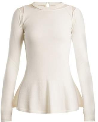 Oscar De La Renta - Mesh Insert Wool Sweater - Womens - Ivory