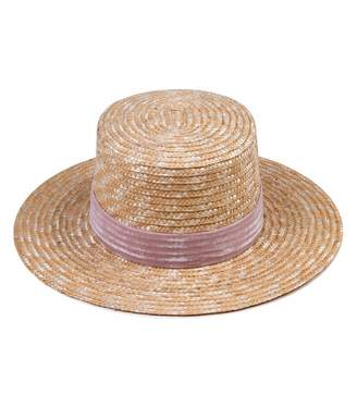 LACK OF COLOR Pink Velour Hat in Natural Straw