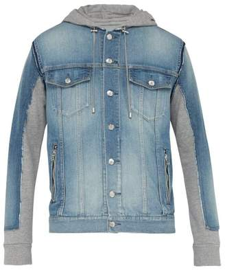 Balmain Contrast Panel Hooded Denim Jacket - Mens - Blue