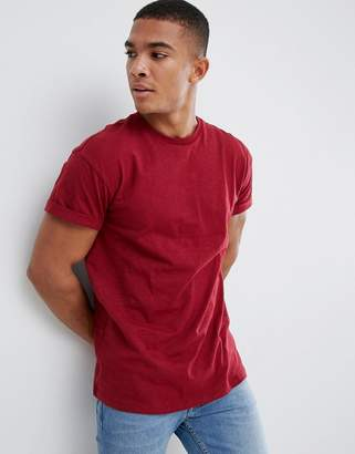 New Look high roll t-shirt in dark red