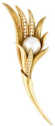 Diamond & Pearl Floral Brooch