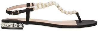 Julie Dee Thong Black Satin Sandals