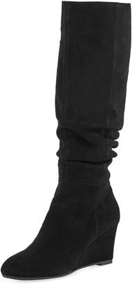 Bettye Muller Concept Karole Tall Mid-Wedge Ruched Suede Boots