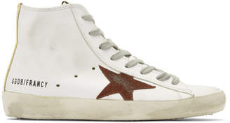 Golden Goose White and Purple Francy High-Top Sneakers