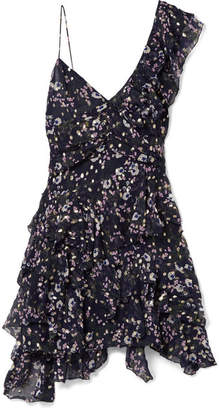 Isabel Marant - Manda Floral-print Metallic Fil Coupé Silk-blend Mini Dress - Midnight blue