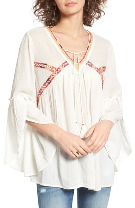 Women's Sun & Shadow Boho Bell Sleeve Top $55 thestylecure.com