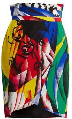 Versace The Clash Abstract Print Silk Crepe De Chine Skirt - Womens - Multi