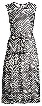 Peserico Women's Sleeveless Graphic Print A-Line Dress