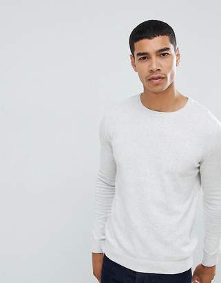 Pull&Bear Join Life Knitted Sweater In Light Gray