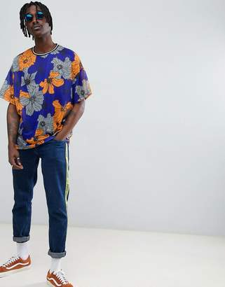 Asos DESIGN oversized t-shirt with floral all over mesh and tipped rib