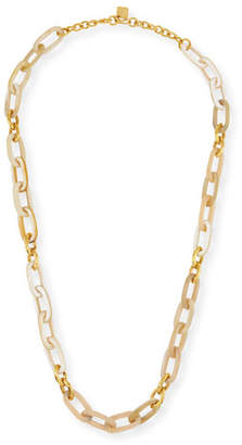 "Ashley Pittman Light Horn & Bronze Link Necklace, 40""L"