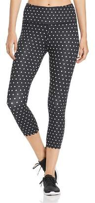 Kate Spade Scalloped Dot-Print Cropped Leggings