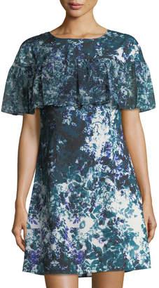 Tahari ASL Floral-Print Ruffle Crepe de Chine Dress